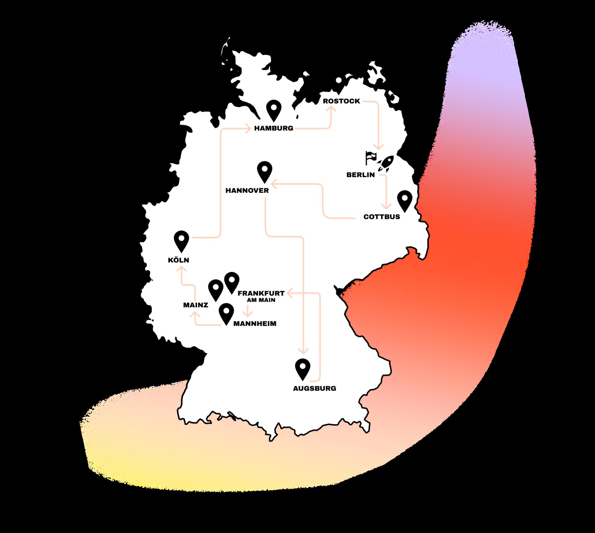 Deutschlandkarte mit Stops der Tour